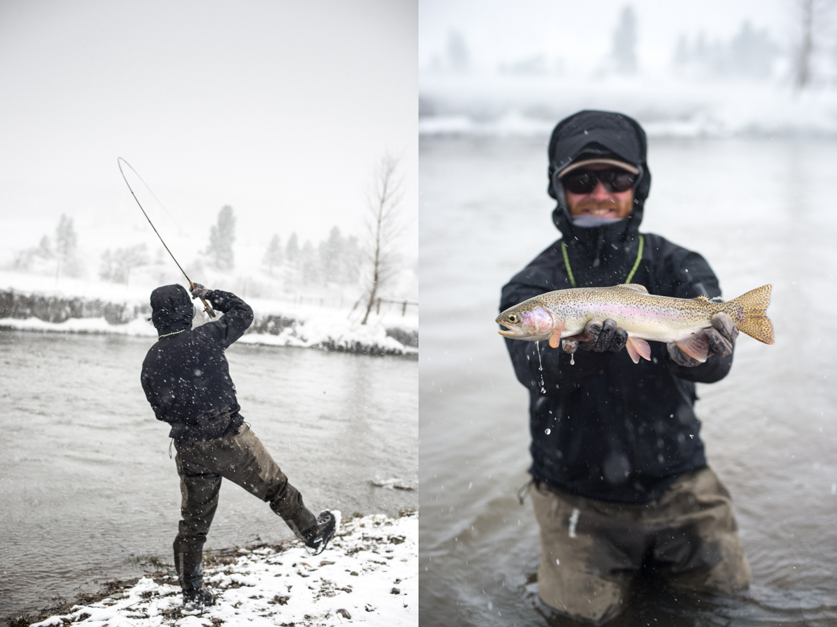 fly fishing, smith, river, montana, spring, snow, trout