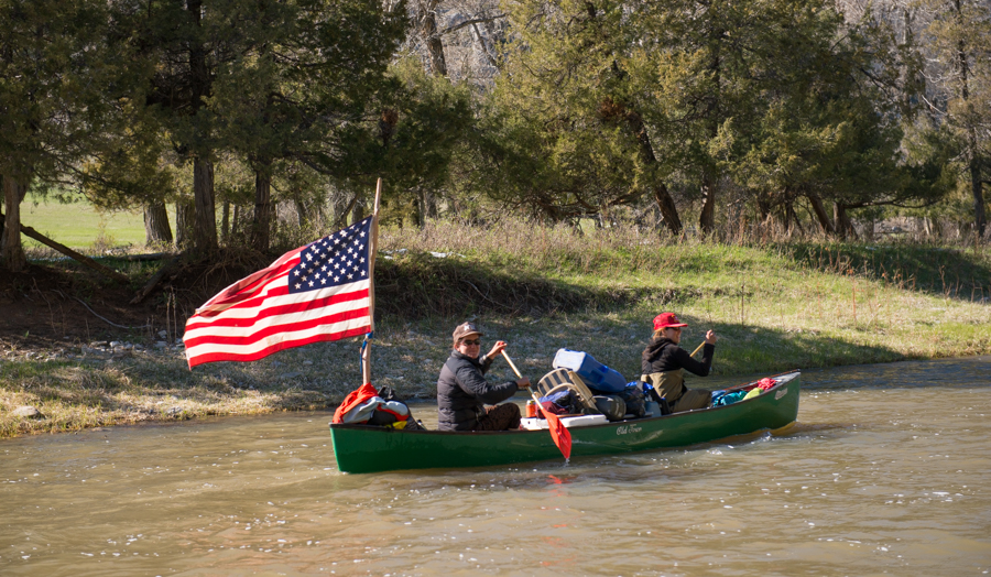 smith river, canoe, montana, america, flag