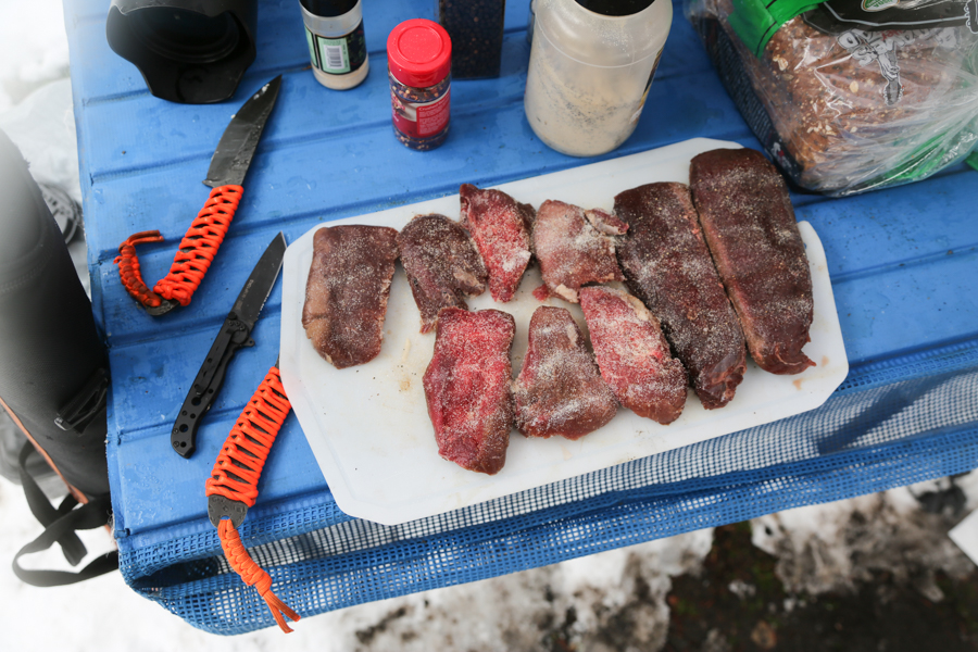 dinner, elk steaks, elk, montana, fishing, camping