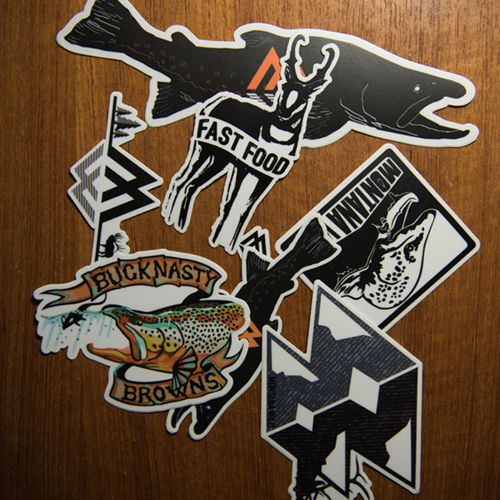 sticker, pack, montana, wild, decal, hunting, hunt, bowhunt, fishing, fly, trout, bull, elk, brown