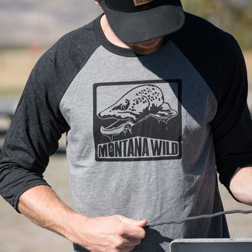 brown, trout, bugged, out, montana, wild, fishing, fly, bull, design, hunting, bucknasty, baseball, tee
