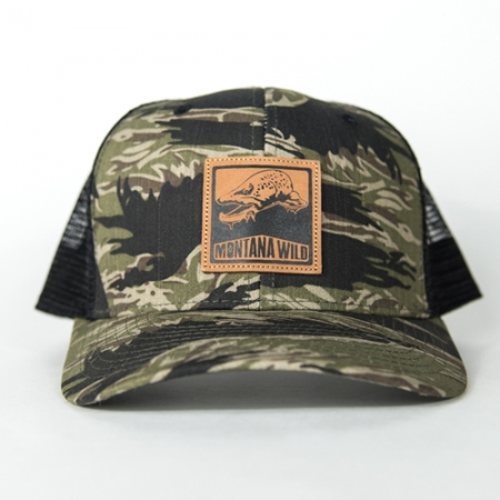 Bugged, out, brown, trout, trucker, hat, bucknasty, fly, fishing, montana, wild, camo