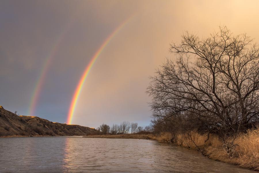 bighorn, river, montana, flyfishing, double rainbow, rainbow, river