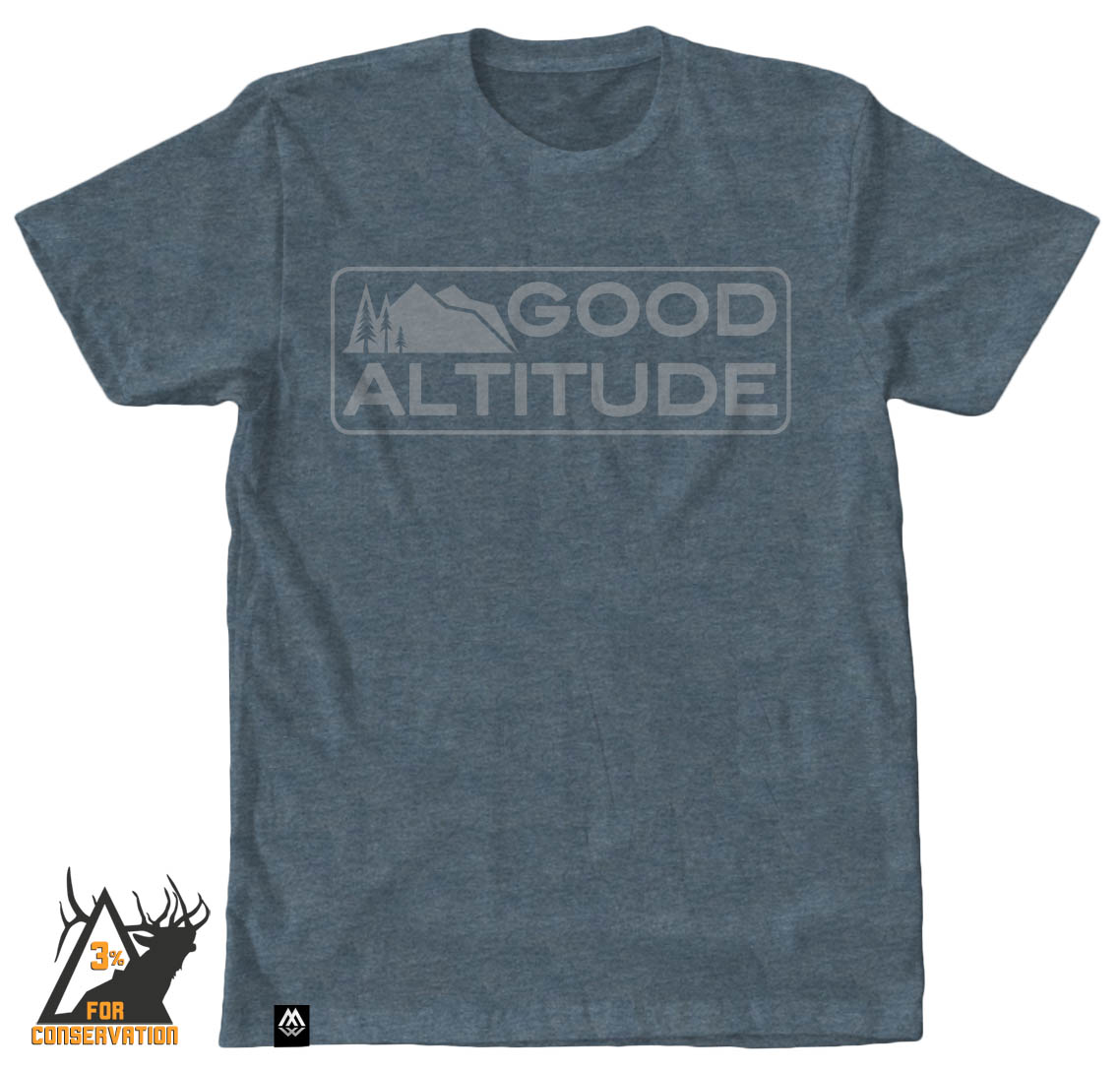 good altitude, elevation, hiking, outdoors, camping, biking, running, hunting, fishing, trail, camp, tee, shirt, bozeman