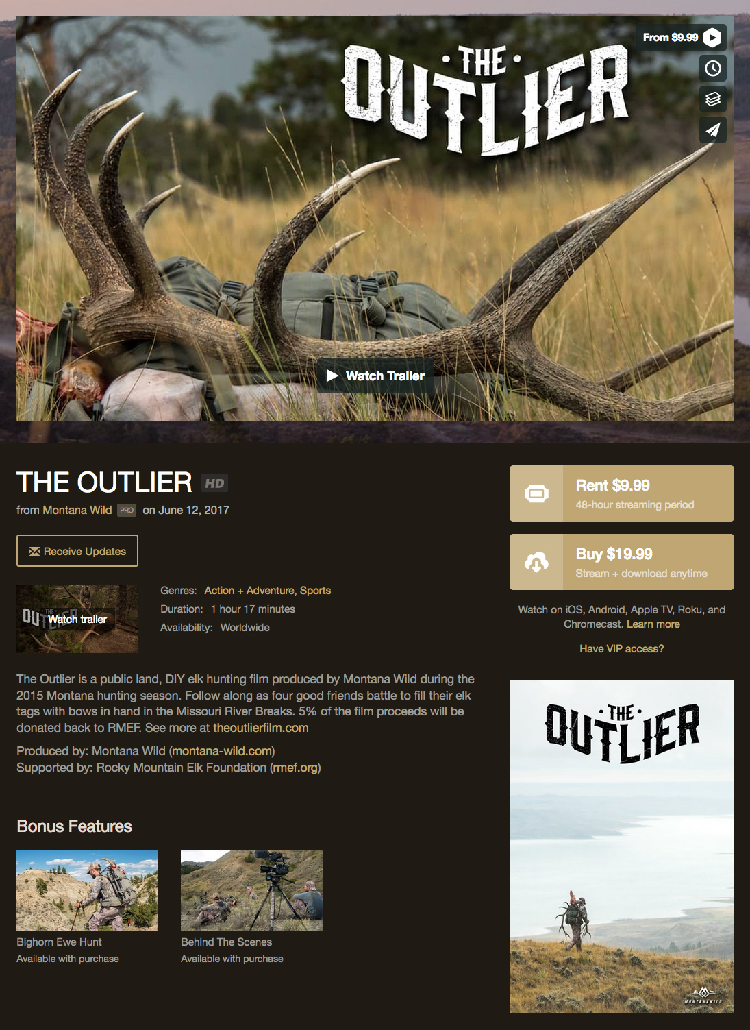 the outlier, film, elk, hunting, montana, public land, vimeo, on demand, digital, download