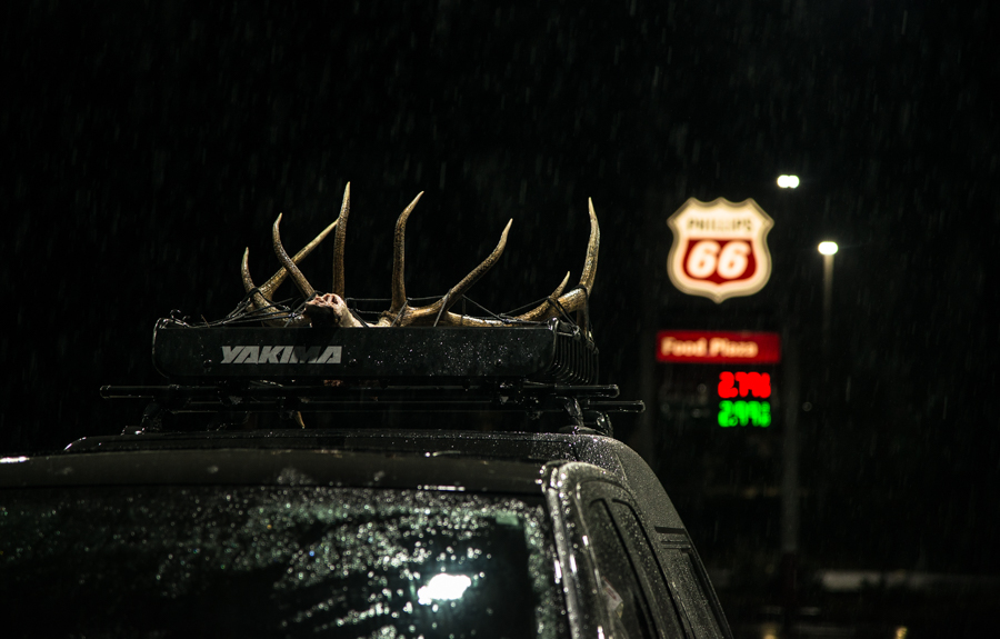 elk hunting, phillips 66, elk, hunting, roof rack, truck rack, gas station