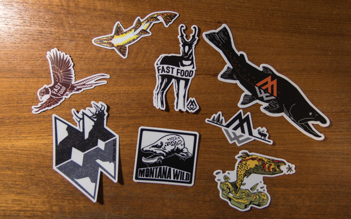 sticker pack, hunting, fly fishing, stickers, decals, Montana Wild, Montana, Outdoor Media, stoke, fast food, bugged out brown, elk icon, elk decal, Missoula, Billings, Bozeman, sticker pack