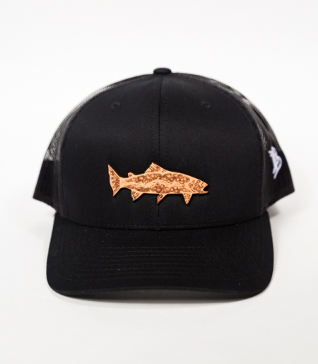 Topo trout trucker leather patch fishing hat for Fishing hats for sale