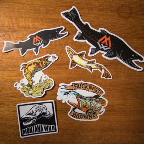 sticker, sticker pack, fishing, brown trout, bull trout, stoke, fly fishing, outdoor media , fishing films, Bucknasty Browns, Montana Wild, Missoula, Bozeman, Billings, Denver