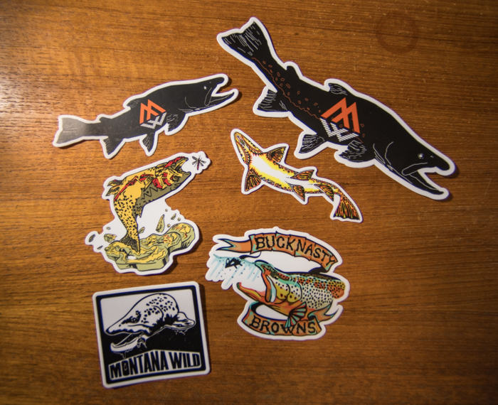 sticker, sticker pack, fishing, brown trout, bull trout, stoke, fly fishing, outdoor media , fishing films, Bucknasty Browns, Montana Wild, Missoula, Bozeman, Billings, Denver